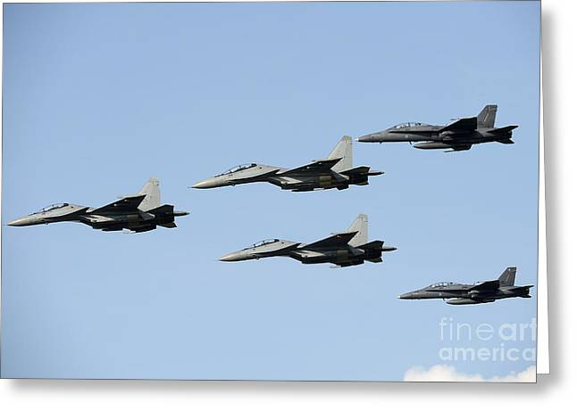 Cooperation Greeting Cards - Sukhoi Su-30 Mkm Aircraft And Fa-18 Greeting Card by Remo Guidi