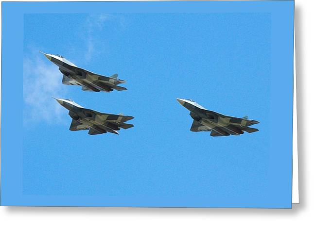 Evaluation Mixed Media Greeting Cards - Sukhoi T 50 Stealth Fighter Greeting Card by L Brown