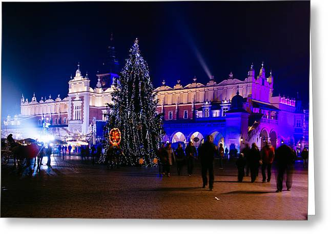 Polish Culture Greeting Cards - Sukiennice By Night Greeting Card by Pati Photography