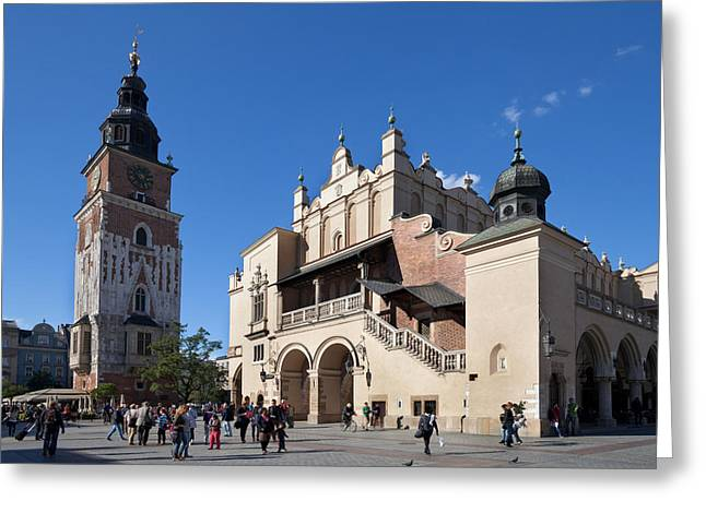 Market Square Greeting Cards - Sukiennice, The Renaisssance Cloth Hall Greeting Card by Panoramic Images