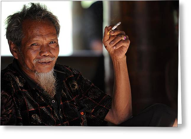 Smoker Greeting Cards - Sulawesian smoker Greeting Card by Jessica Rose
