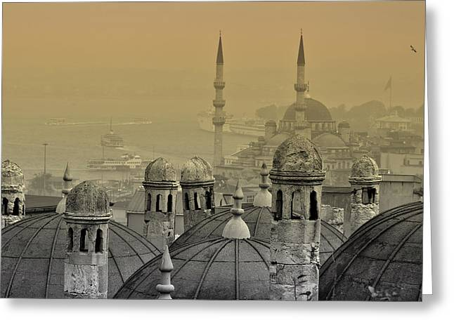 Marmara Greeting Cards - Suleymaniye mosque and New Mosque in Istanbul Greeting Card by Ayhan Altun