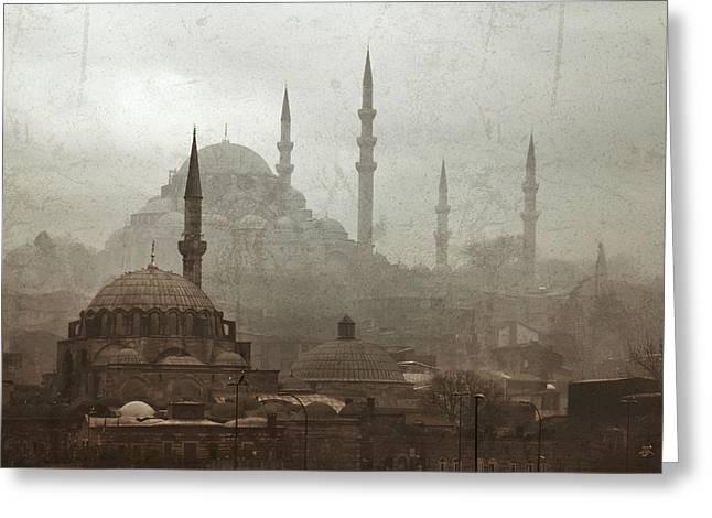 Suleymaniye Mosque And Rustem Pasha Mosque Greeting Card by Ayhan Altun