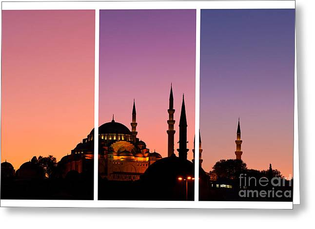 Suleymaniye Sundown Triptych 01 Greeting Card by Rick Piper Photography
