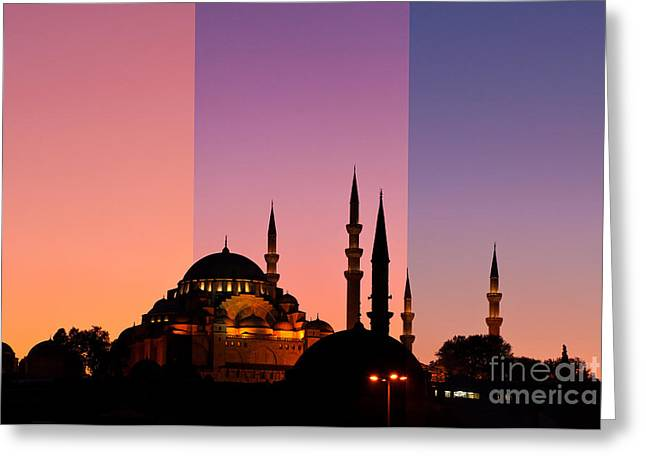 Suleymaniye Sundown Triptych 05 Greeting Card by Rick Piper Photography