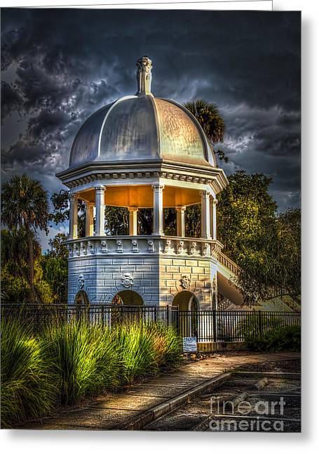 Thunder Cloud Greeting Cards - Sulfur Springs Gazebo Greeting Card by Marvin Spates