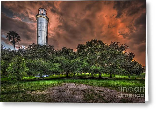 Dark Clouds. Greeting Cards - Sulfur Springs Tower Greeting Card by Marvin Spates