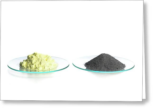 Sulphur And Iron Filings Greeting Card by Science Photo Library