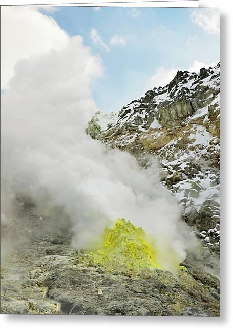Sulphur Deposits Greeting Card by Dr P. Marazzi