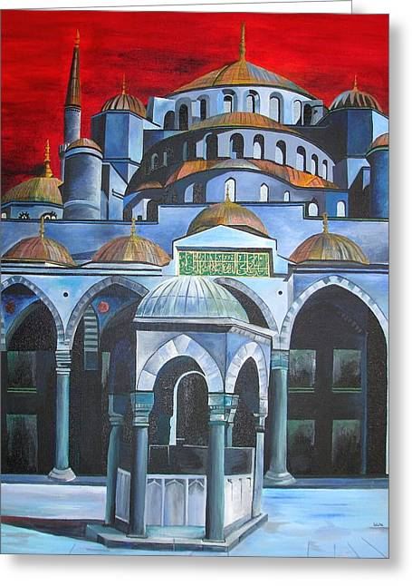 Tracey Harrington-simpson Greeting Cards - Sultan Ahmed Mosque Istanbul Greeting Card by Tracey Harrington-Simpson