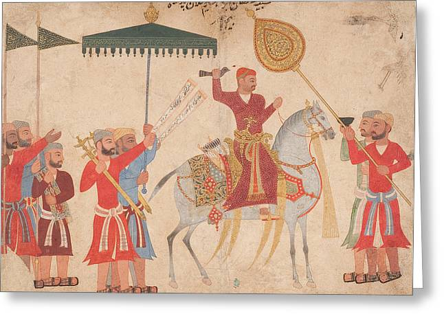 Indian Drawings Greeting Cards - Sultan Hussain Nizam Shah I of Ahmadnagar on horseback Greeting Card by Indian School