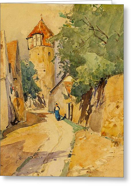 Walking Down The Street Greeting Cards - Sulzbach Street Scene Greeting Card by Eduard Zetsche