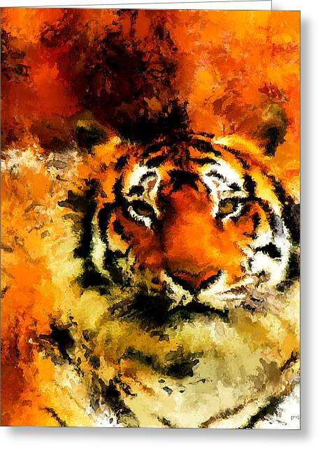 Tigers Digital Greeting Cards - Sumatran Greeting Card by Lourry Legarde