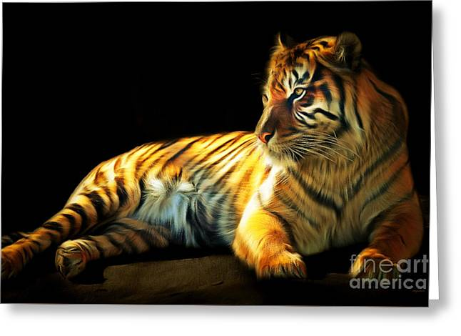 The Tiger Digital Greeting Cards - Sumatran Tiger 20150210brun Greeting Card by Wingsdomain Art and Photography