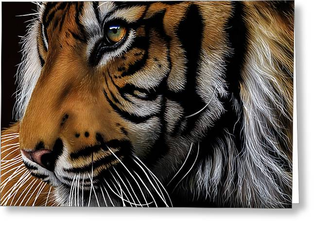 Wildcat Greeting Cards - Sumatran Tiger Profile Greeting Card by Jurek Zamoyski