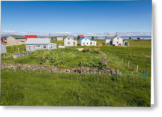 Rural Architecture Greeting Cards - Sumer Houses, Flatey Island Greeting Card by Panoramic Images