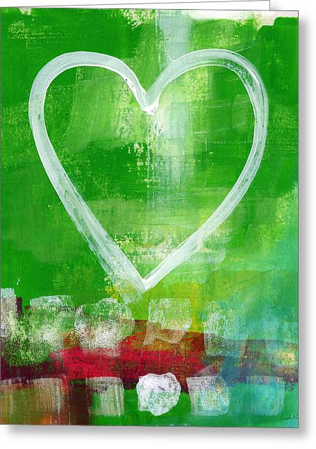 Striped Mixed Media Greeting Cards - Sumer Love- Abstract heart painting Greeting Card by Linda Woods