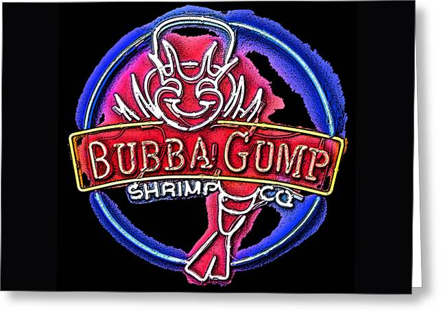 Gatlinburg Tennessee Greeting Cards - Sumi-e Bubba Gump Sign Greeting Card by Marian Bell