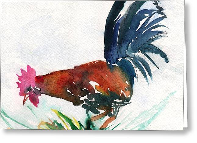 Colorful Rooster Greeting Cards - Sumi Style Rooster Greeting Card by Marionette Taboniar