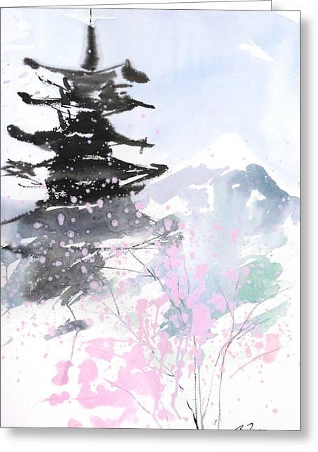 Storibeart Greeting Cards - sumie No.10 Pagoda and Mt.Fuji Greeting Card by Sumiyo Toribe