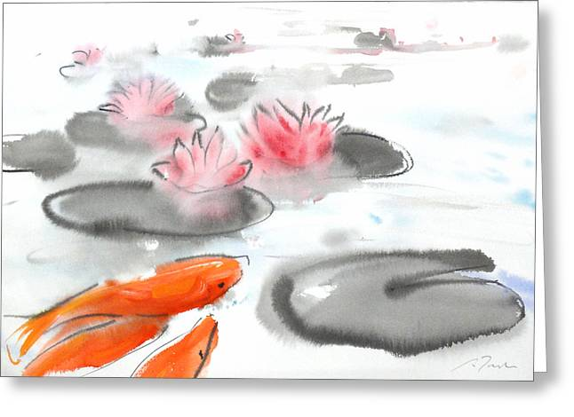 Millbury Greeting Cards - Sumie No.11 Koi fish and Lotus Flowers Greeting Card by Sumiyo Toribe