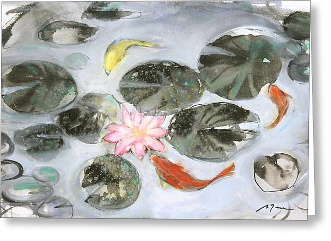 Millbury Greeting Cards - Sumie No.12 triple koi Greeting Card by Sumiyo Toribe