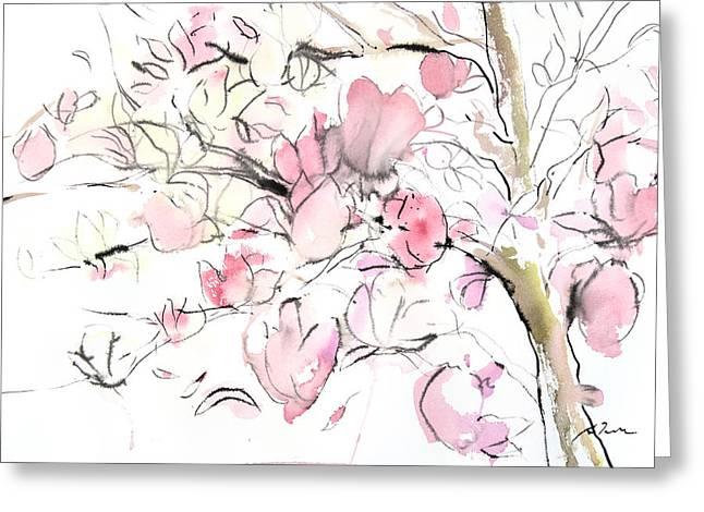 Storibeart Greeting Cards - Sumie No.14 Magnolia Greeting Card by Sumiyo Toribe
