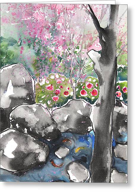 Millbury Greeting Cards - Sumie No.15 Japanese Garden Greeting Card by Sumiyo Toribe