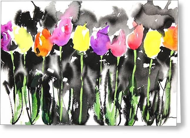 Millbury Greeting Cards - Sumie No.16 Tulips Greeting Card by Sumiyo Toribe