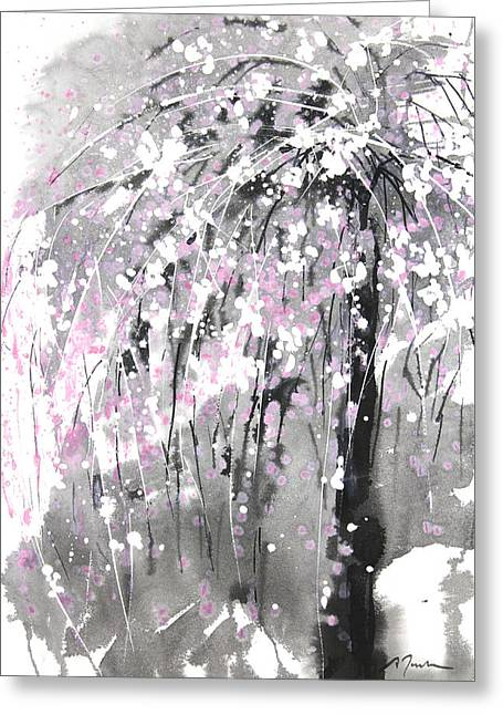 Millbury Greeting Cards - Sumie No.19 weeping cherry blossoms Greeting Card by Sumiyo Toribe