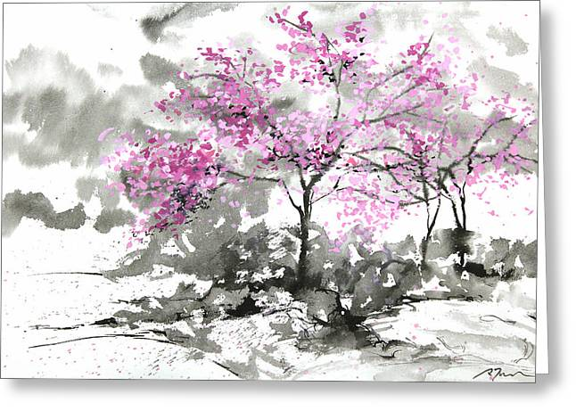 Millbury Greeting Cards - Sumie No.2 Plum Blossoms Greeting Card by Sumiyo Toribe