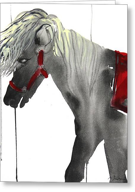 Millbury Greeting Cards - Sumie No.20 Pony Ride Greeting Card by Sumiyo Toribe