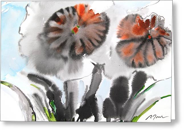 Millbury Greeting Cards - Sumie No.4 Daffodils Greeting Card by Sumiyo Toribe