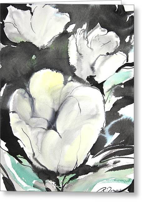 Millbury Greeting Cards - Sumie No.5 tulips Greeting Card by Sumiyo Toribe