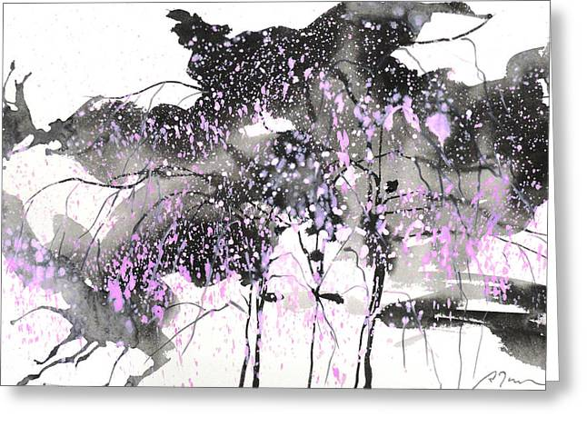 Storibeart Greeting Cards - Sumie No.6 weeping willow cheery blossoms Greeting Card by Sumiyo Toribe
