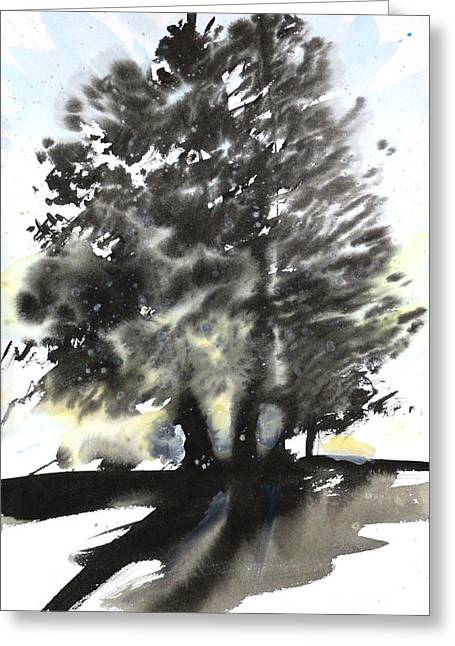 Millbury Greeting Cards - Sumie No.9 trees Greeting Card by Sumiyo Toribe