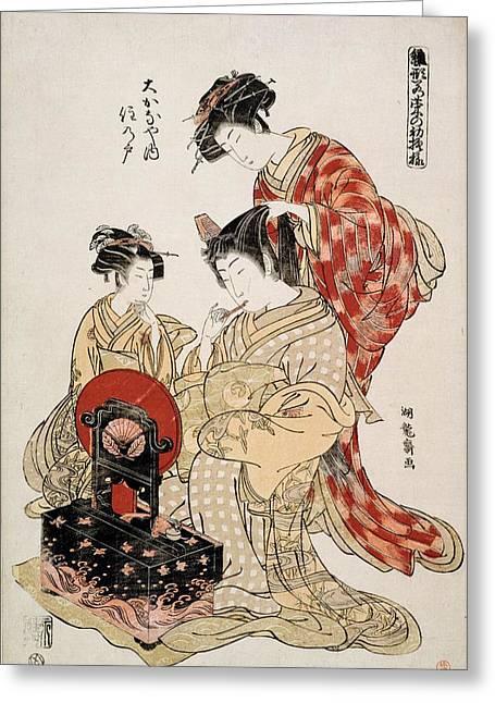 Lacquer Greeting Cards - Suminoto Of Okanaya, From The Series Greeting Card by Isoda Koryusai