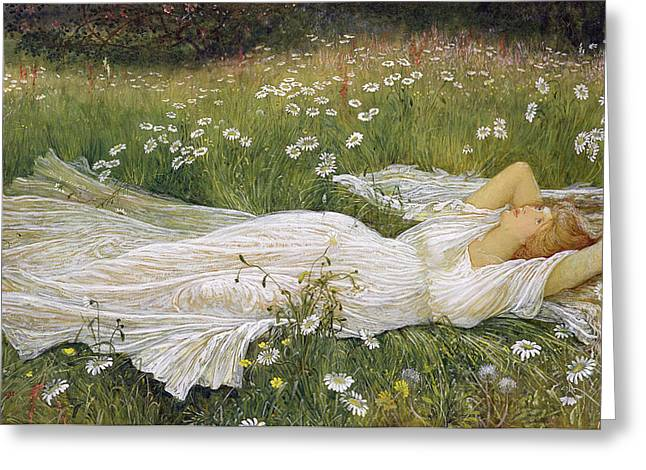 White Dress Greeting Cards - Summer, 1895 Greeting Card by Walter Crane