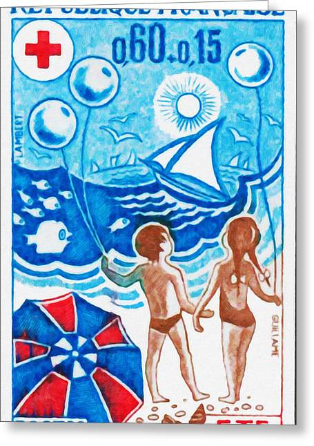 Sailboat Images Paintings Greeting Cards - Summer 1974 Greeting Card by Lanjee Chee