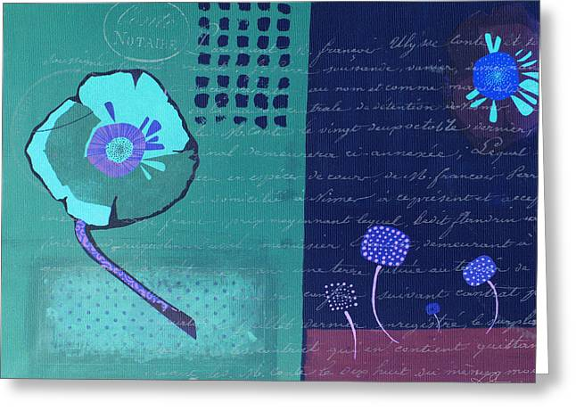Blue Flowers Mixed Media Greeting Cards - Summer 2014 - Blue01a Greeting Card by Variance Collections