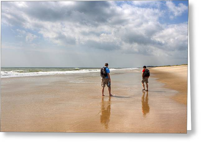 Summer A Beach In The Hamptons Greeting Card by Mark E Tisdale