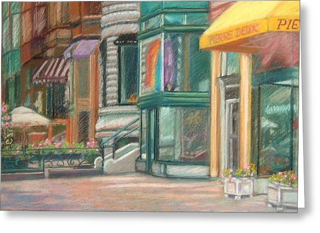 Dine Pastels Greeting Cards - Summer Afternoon on Newbury Street Greeting Card by Claire Norris