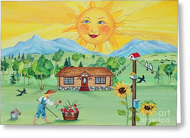 Canmore Artist Greeting Cards - Summer Afternoon Greeting Card by Virginia Ann Hemingson
