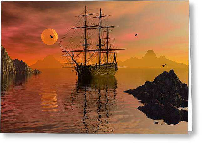 Tall Ship Digital Greeting Cards - Summer anchorage Greeting Card by Claude McCoy