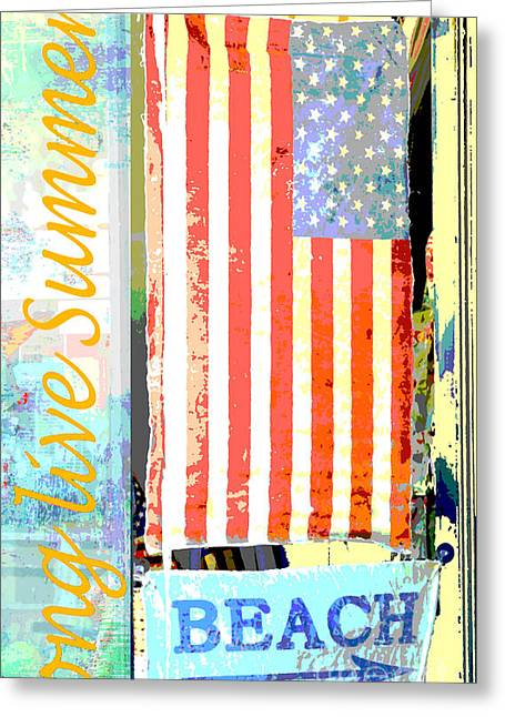 Youth Mixed Media Greeting Cards - Summer and Beach Americana Greeting Card by Adspice Studios