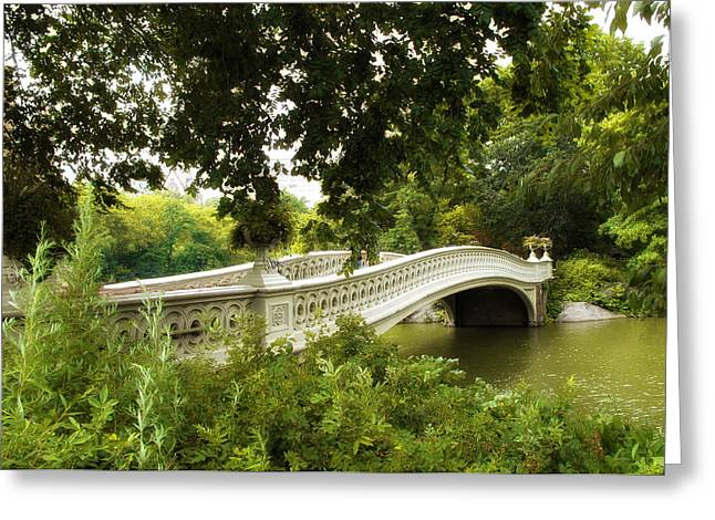 Bow Bridge Greeting Cards - Summer at Bow Bridge Greeting Card by Jessica Jenney