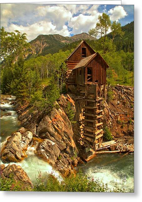 Summer At Crystal Mill Greeting Card by Adam Jewell