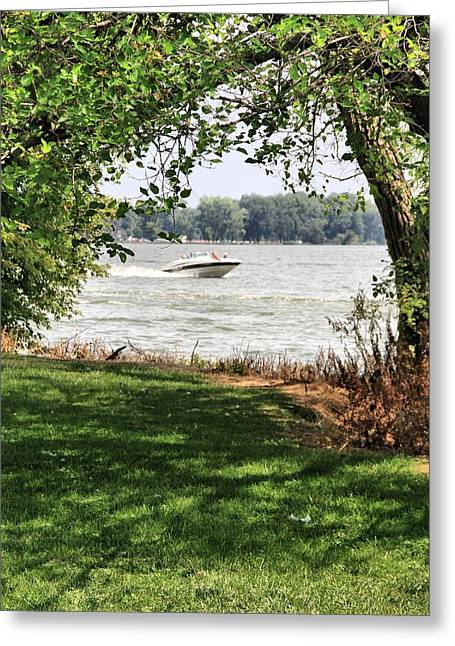 Boats On Water Greeting Cards - Summer At The Lake Greeting Card by Dan Sproul