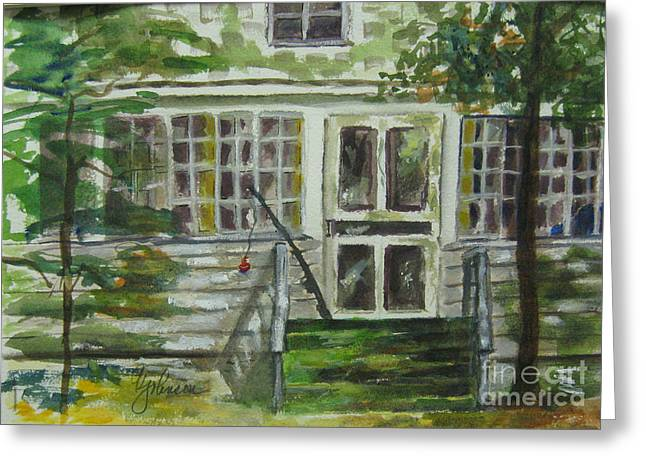 Screen Doors Greeting Cards - Summer at the lakehouse Greeting Card by Georgia Johnson