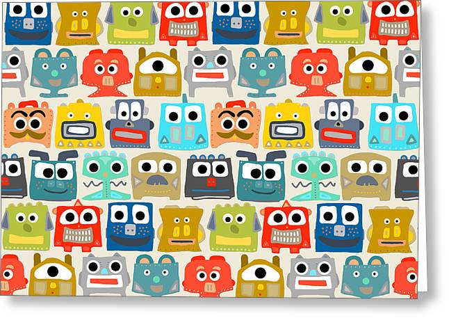 Summer Baby Robots Greeting Card by Sharon Turner